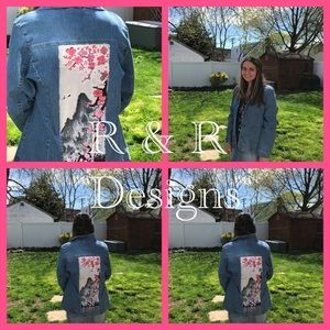 Gorgeous hand painted cherry blossoms jacket HP!